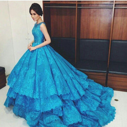 Wholesale Dark Turquoise Green Ball Gown - Turquoise A Line Saudi Arabia Lace Evening Dresses 2016 Fashion Tiered Skirts Bling Top Sequins Appliqued Prom Gowns Formal Party Dresses