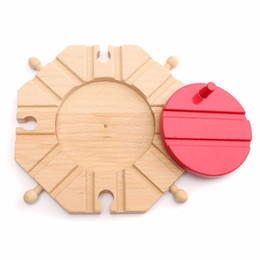 Wholesale Thomas Toy Train Sets - New Wooden train Switch Track set Circular Turntable Educational Toys Boy Kids Toy fit Thomas and Brio