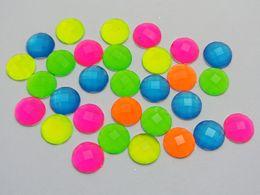 Wholesale 8mm Acrylic Flatback - Wholesale-200 Mixed Neon Color Flatback Acrylic Round Rhinestone Gems 8mm No Hole