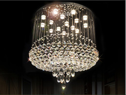 Wholesale Chandelier Ball Large - D600mm H700mm Modern K9 Crystal Ball Style K9 Crystal Chandelier Large LED Clear Crystal Pendant Lamps AC 100% Guaranteed