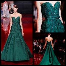 Wholesale Graceful Dresses - Graceful Elie Saab Green Evening Dresses 2016 Sweetheart Satin Lace Applique Evening Gowns Vestido De Festa Longo Formal Party Dress