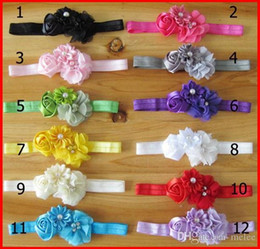 Wholesale Rose Hair Colour - Hot Sale 2015 Infant Hair Accessories Rose Flower Pearl Combination Girls Hair Band Kids Headband Babies Toddler Head Band Mix Colour