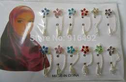 Wholesale Crystal Safety Pins - Hijab Pins Brooches Wholesale 12PCS Flower Crystal Muslim For Women Safety Scarf Pins Hijab Pins Silver Pins Mixed Color
