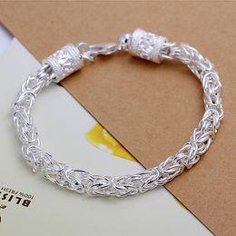 Wholesale Leader Hooks - Hot sale best gift 925 silver New leader Bracelet - Men DFMCH096, brand new fashion 925 sterling silver Chain link bracelets