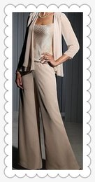 Wholesale Sexy Black Pant Suits - 2016 Custom Made Mother Of Bride Dresses Chiffon Long Sleeves Mother Of The Bride Pant Suits Wedding(Pant+Suit)