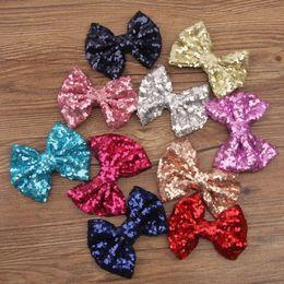 Wholesale Sequin Paillette Ribbon - 11 Colors 2015 New Baby Girl Hair Clip Fashion Paillette Sequin Bow Girls Hair Bows Girls Hair Accessories cute Hairpins D679J