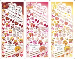 Wholesale Lip Stickers For Nails - Wholesale-LARGE 1 SET(3 DESIGNS IN 1)HOT061-063 Water decal Nail Sticker Cute Bear & Sweets & Lips&Bow design For nail