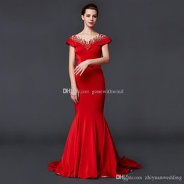 Wholesale Two Sided Belt - model pictures red crystals beaded mermaid evening dresses 2018 heavily embroidery evening gowns with belt bow