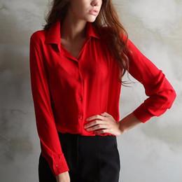 Wholesale Trendy Tee Shirts - New Trendy Women's Long Sleeve Loose Chiffon Shirt Casual Blouse Tee Shirt Tops