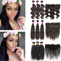 Wholesale Wavy Ombre Weave - Brazilian Hair Bundles Wet and Wavy Body Wave Straight Remy Human Hair Lace Closure 3 Bundles with Kinky Curly 13x4 Weaves Frontal Closure