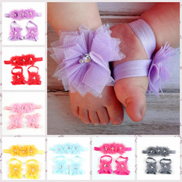 Wholesale Vintage Lace Headbands Newborn - Baby Headbands Newborn Headbands For Girls Hair Clips Pins Vintage Lace Flowers Diamond Pearl Girls Hair Accessories with Foot Flower MC-035