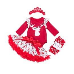 Wholesale Legging Skirt Sets - Kids Clothing 0-2T Baby Girl Clothes Set Deer Christmas Printed Long Sleeve Romper+Tutu Skirts+Leg Warmer+Headband 4pcs Baby Outfits Set