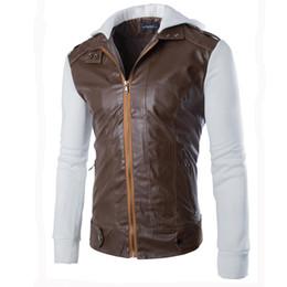Argentina Nuevo llega mens chaqueta de cuero de la pu y abrigos empalme de manga larga con capucha prendas de abrigo abrigos para hombres abrigos al aire libre más el tamaño M-XXL cheap xxl leather sleeves jacket Suministro
