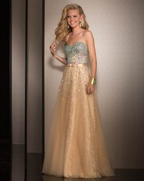 Wholesale Homecoing Dressed - Crystal Beaded Prom Wedding Guest Dresses Strapless Sweetheart Party Dresses Floor Length A-Line Backless Cheap Homecoing Dresses Online