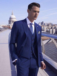 cravatte blu navy per il matrimonio Sconti Custom Made di alta qualità Slim Fit Smoking dello sposo Groomsmen Mens Wedding Prom Abiti BLU sfiato laterale (Jacket + Pants + Tie + Vest)