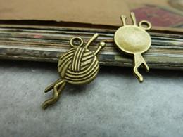 Wholesale Needlework Charms - 12*24MM DIY jewelry accessories wholesale vintage thread ball charms pendants, antique bronze tibetan silver needlework charm