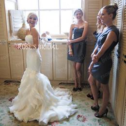 Wholesale Organza Sweetheart Mermaid Wedding Dress - Backless Wedding Dresses 2015 Sweetheart Neckline Satin Ruffle Organza Court Train Bridal Dresses Sexy Mermaid Dresses White