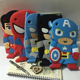 Wholesale Superman Case For Iphone - 3D Cute Cartoon Superman Batman Spiderman Soft Silicon Rubber Material Case Cover for iPad Mini 1 2 3 iPad 2 3 4