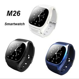 Wholesale free music android - Smart Watches M26 Bluetooth Smartwatch With Music Player Pedometer For Apple IOS Android Smart Phone Woman Watch Free DHL VS DZ09 U8