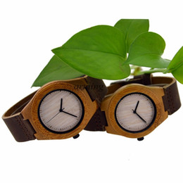 Wholesale Movement Miyota - Gifts Bamboo Wooden Watch japanese miyota movement wristwatches genuine leather bamboo wood watches for couples gift box