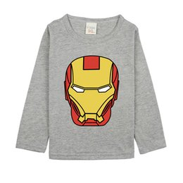 Wholesale Iron Man Baby - 2017 hot Iron man t-shirt for baby boy long sleeved round neck cotton tops for kids boy fashion