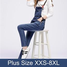 Großhandels-Fall-Art und Weise hellblaue Spielanzug-dünne Denim-Latzhosen plus Größen-Schellfisch-Jeans Catsuit Femme-Overalls für Frauen Cargo Pants 3Xl 5Xl von Fabrikanten