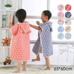 Wholesale Infant Washcloths - Wholesale- Hooded baby kids Bathrobe Bath Towel Muslin cotton infant Beach Towel Washcloth boys girls Bath Robe children bathing towel D3