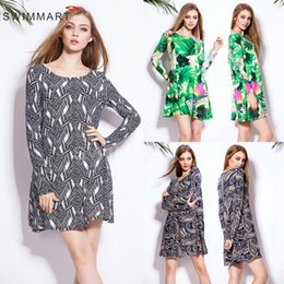 Wholesale Summer Cotton Shirts For Women - 2016 New Casual Dresses For ladies Summer Leisure Loose Women Beach Dresses Fashion Floral Women Cotton Long sleeve T shirt dress