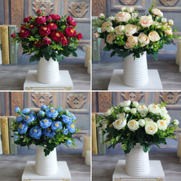 Wholesale Branch Table - New Multi Color Realistic 6 Branches Spring Artificial Fake Peony Flower Arrangement Home Table Room Hydrangea Decor