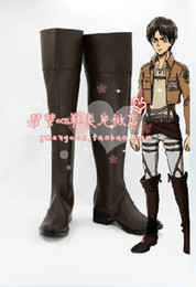 Wholesale Attack Titan Shoes - Wholesale-New Arrival The Best For Anime Vonvention Custom made Attack on Titan Eren Jaeger Cosplay Boots Shoes