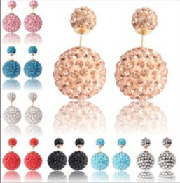 Wholesale 14mm Crystal Beads - disco shining 8mm&14mm Double Sided Earrings Dual Size Reversible Shamballa Beads Ear Stud Large Stocks Crystal Earrings 10Pair lot