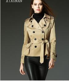 Wholesale Double Long Skirt - New Spring Autumn Women's Fashion Double-Breasted Short Trench Coats Ladies Elegant Lapel Lace-up Dust Coat Girls Lovely Peplum Style Jacket
