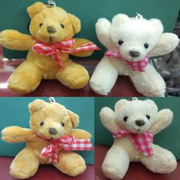 Wholesale Teddy Bears Bouquets - 50 piece lot hot sale brand new 8cm mini plush bear with scarf bouquet material small plush toy teddy bear oso de peluche