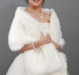 Wholesale Ivory Faux Fur Wedding Shawl - 2015 Winter Bridal Shawl 170x35 cm Long White Black Pink Faux Fur Shrug Cape Stole Wrap Wedding Bridal Special Occasion Shawl