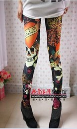 Wholesale Jeans Skulls - Wholesale- new A46 Women fashion vintage skull flower clothes stretchy skeleton printed tattoo Skinny Jeans Leggings