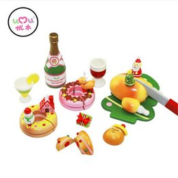 Wholesale Wooden Kitchen Play Set - Wholesale- [Umu] Christmas Wooden Toys For Children Christmas Carnival Kitchen Cooking Utensils Cutlery Sets Play House Toys Gift Safety