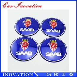 Wholesale Making 3d Logos - Wholesale China Made 55mm SAAB Blue Logo Car Steering Tire Wheel Center Hub Emblem Decal Sticker