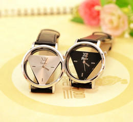 Wholesale Watches Fashion Triangle - Fashion Man Women Watch PU Strap Hollow Glass Alloy Dial Wristwatches Quartz Casual Style Triangle Analog Watches Christmas Gift Lover MQ50