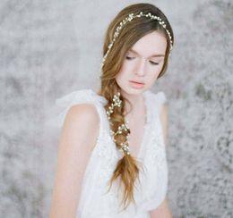 Wholesale Glass Pearl Long Chain - Hot Sall Long Hair Chain Handmade Pearls Bridal Hair Accessories Custom Made 1M Headband Wedding Hair Sash Belt Bridal Accesorios Headpieces