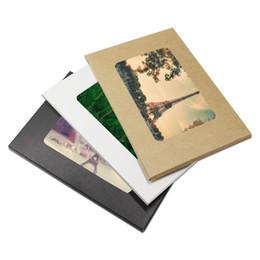Cajas de tarjetas de felicitación online-10.2 * 15.5 + 0.5 cm Caja de la Postal de Papel Kraft Caja de Fotos Plegables con Ventana DIY Tarjeta de Felicitación Embalaje Caja de Presentación Titular de Almacenamiento