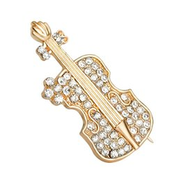 модные золотые женщины шипованных с полным горный хрусталь скрипка броши гитара pin скрипка брошь булавки корсаж шип 2018 Горячие xz048 от