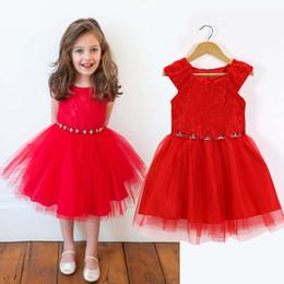 robes d'été rouge pour les filles Promotion 2015 Nouvelle Europe et les États-Unis Fashion Summer Girl dentelle rouge robe sans manches B001