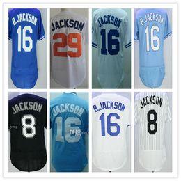 Wholesale Men Mixed Shirt - 1987 Throwback Kansas City 8 16 Bo Jackson Jersey Gold Blue Stitched White 29 B.Jackson Baseball Sport Shirts Cheap,Mix Order