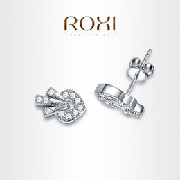 Wholesale Insert Stud Earrings - FG ROXI Exquisite Strawberry Earrings platinum plated with AAA zircon,fashion Environmental Micro-Inserted Jewelry,102019288
