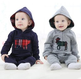 Wholesale Navy Kids Clothes - Spring Infant Clothing Boys Kids Jumpsuits British Style Baby Hooded One-piece Rompers Children Animal Climb Clothes Navy Gray 10961