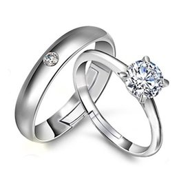 Wholesale Wholesale Ct Diamonds - silver rings men 925 sterling white gold plated women 1 ct Austria diamond couple ring