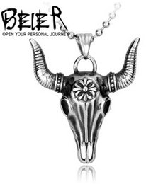 Wholesale High End Fashion Jewelry - BEIER fashion high-end European American jewelry wholesale titanium steel men's pendant CH cow skull hanging crosswise spot free shipping