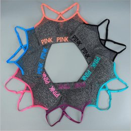 Wholesale Wholesale Wire Bras - Pink Sports Bras Yoga Running Vests Women Pink Letter Gym Shirts Push Up Fitness Bras Elastic Fashion Crop Tops Outdoor Sexy Underwear B3651