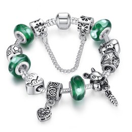 Wholesale Emerald Green Glass - Vintage Charm Brackets with Emerald Green Murano Glass Beads & Cute Rabbit Silver Charms & Heart Dangles Elegant Bangle BL062