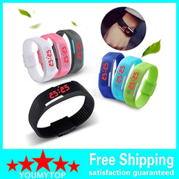 Wholesale Watches Led Kids - HOT SALE 10pcs Men's Women's kids Silicone Red LED Sports Bracelet Touch Watch Digital Wrist Watch